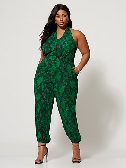 Plus Size Alana Emerald Snake Print Jumpsuit - Fashion To Figure