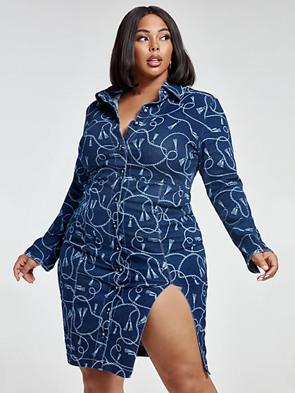 Plus Size Alanna Chain Print Denim Dress - Fashion To Figure
