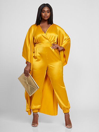 Plus Size Alayna Drama Cape Jumpsuit - Gabrielle Union x FTF - Fashion To Figure