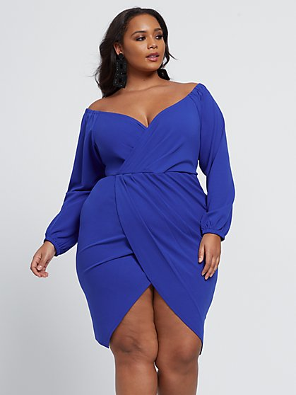 Plus Size Alba Off Shoulder Tulip Hem Dress - Fashion To Figure