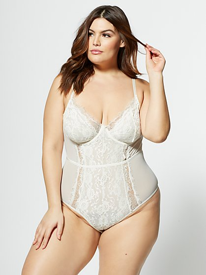 Plus Size Alessandra Lace Lingerie Bodysuit - Fashion To Figure