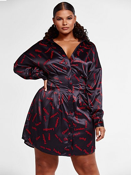 Plus Size Alessia Glamour Print Shirt Dress - Fashion To Figure