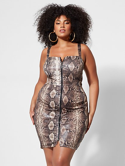 Plus Size Alessia Snake-Print Bodycon Dress - Fashion To Figure