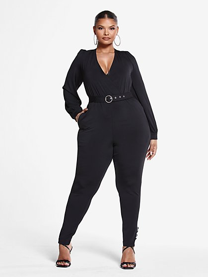 Plus Size Alex Belted Jumpsuit - Fashion To Figure