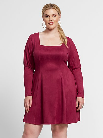 Plus Size Alexa Faux-Suede Flare Dress - Fashion To Figure
