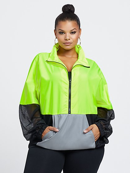 Plus Size Alexa Neon Windbreaker - Fashion To Figure