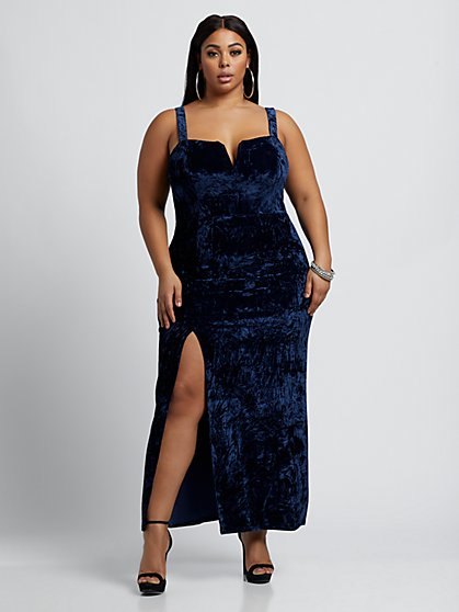 Plus Size Alexia Crushed Velvet Maxi Dress - Fashion To Figure
