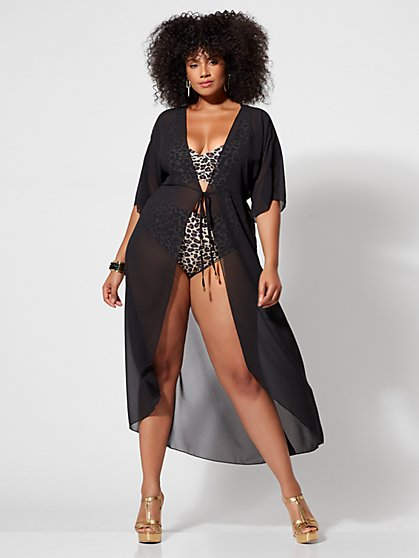 Plus Size Alexis Black Mesh Tie-Front Cover-up - Fashion To Figure