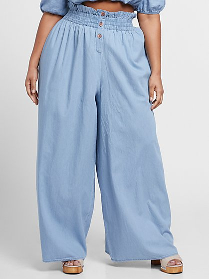 Plus Size Alicia Paperbag Waist Chambray Wide Leg Pants - Fashion To Figure