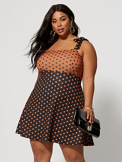 Plus Size Alicia Polka-Dot Flare Dress - Fashion To Figure