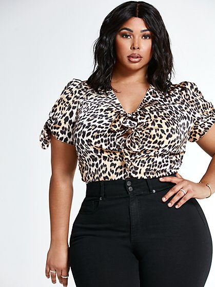 Plus Size Alicia Tie Front Leopard Print Top - Fashion To Figure