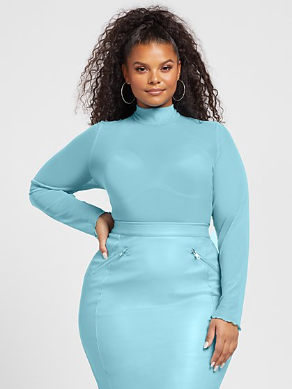 Plus Size Alisha Mock Neck Mesh Top - Fashion To Figure