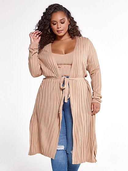 Plus Size Alissa Ribbed Knit Cardigan - Fashion To Figure