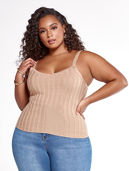 Plus Size Alissa Ribbed Knit Sweater Tank - Fashion To Figure