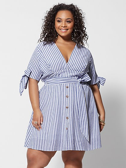f25f5845bd Plus Size Alize Striped Shirting Dress - Fashion To Figure ...