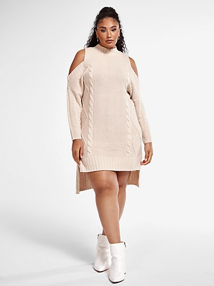 Plus Size Allison Cold Shoulder Sweater Dress - Fashion To Figure