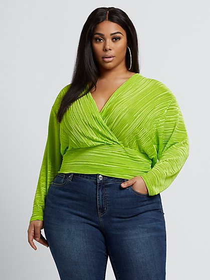 Plus Size Allison Lime Green Top - Fashion To Figure