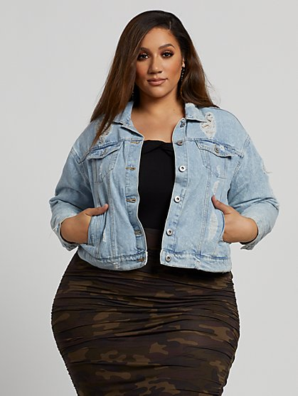 Plus Size Ally Destructed Denim Jacket - Fashion To Figure