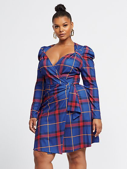 Plus Size Allya Plaid Drape-Front Dress - Fashion To Figure