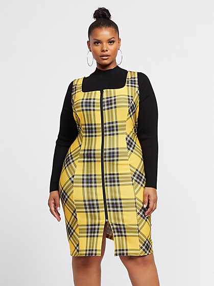 Plus Size Alma Plaid Zip-Front Dress - Fashion To Figure