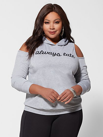 Plus Size Always Late Cold-Shoulder Hoodie - Fashion To Figure