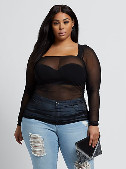 Plus Size Aly Ruched Mesh Top - Fashion To Figure