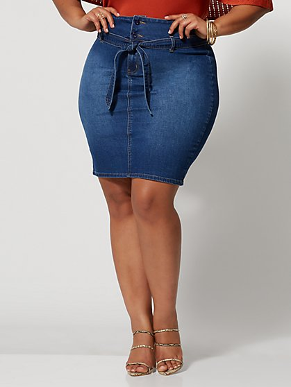 Plus Size Alyona Paper Bag Skirt - Fashion To Figure