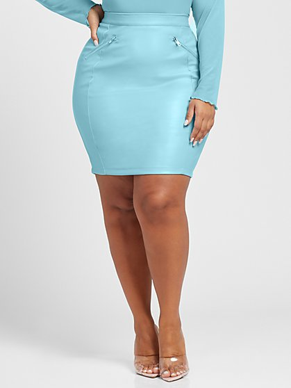 Plus Size Alyssa Faux Leather Pencil Skirt - Fashion To Figure