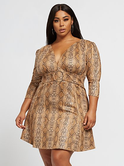 Plus Size Amalia Faux-Suede Snake Print Dress - Fashion To Figure