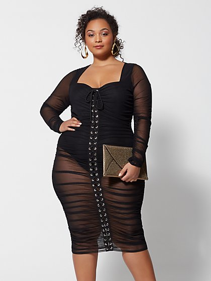 be8cd9e6603 Plus Size Amalia Mesh Lace-Up Bodycon Dress - Fashion To Figure ...