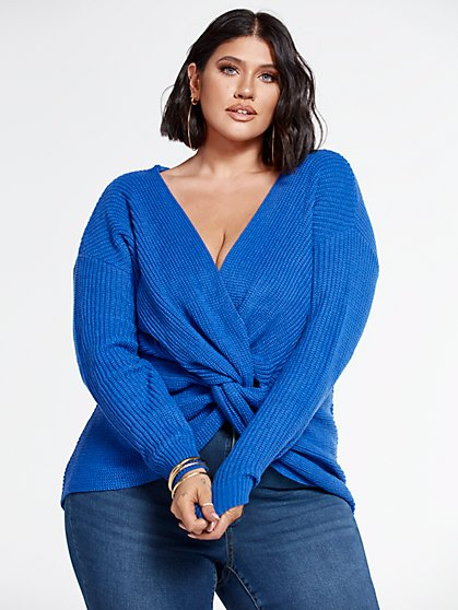 Plus Size Amanda Knot Detail Pullover Sweater - Fashion To Figure