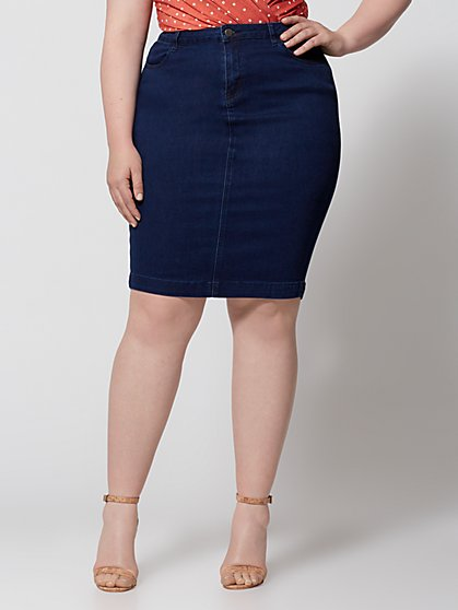 Plus Size Amarina Denim Pencil Skirt - Fashion To Figure