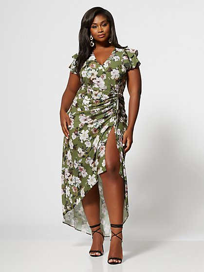 Plus Size Amarissa Floral Ruched Maxi Dress - Fashion To Figure