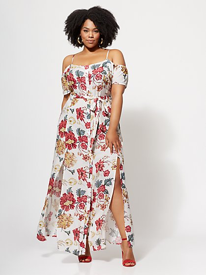 Plus Size Amber Button-Down Maxi Dress - Fashion To Figure