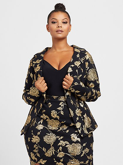 Plus Size Amber Foil Printed Blazer - Fashion To Figure