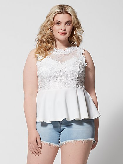 Plus Size Amber Lace Peplum Top - Fashion To Figure