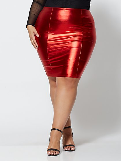 Plus Size Amber Red Metallic Pencil Skirt - Fashion To Figure