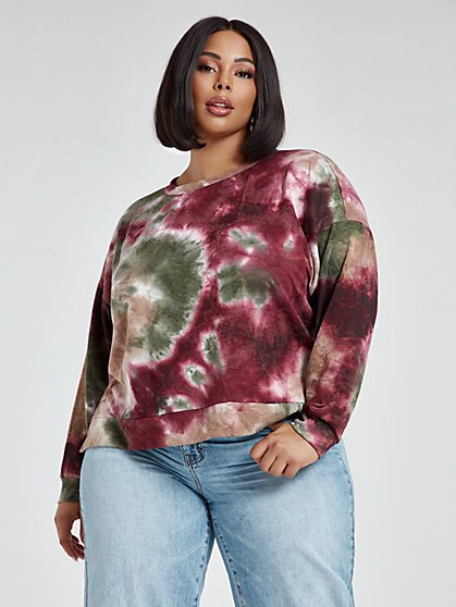 Plus Size Amber Tie Dye Sweatshirt - Fashion To Figure