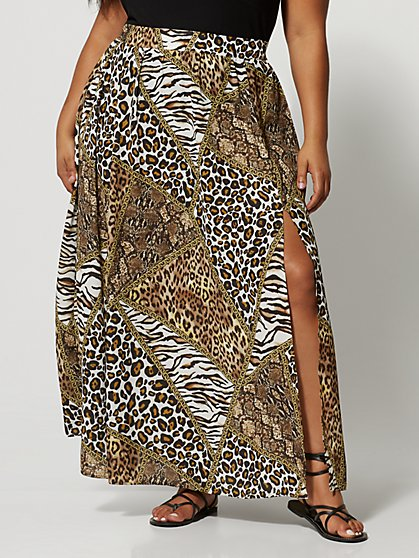 Plus Size Ambree Animal Print Maxi Skirt - Fashion To Figure