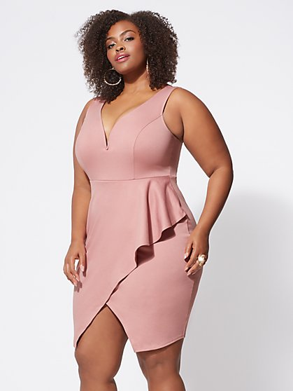 Plus Size Amelia Ruffle Bodycon Dress - Fashion To Figure