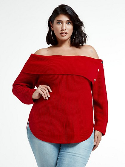Plus Size Amelia Split Collar Sweater with Snap Detail - Fashion To Figure