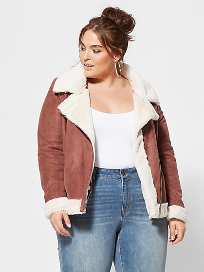 Plus Size Amelie Aviator Jacket - Fashion To Figure
