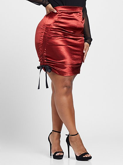Plus Size Amelie Satin Ruched Pencil Skirt - Fashion To Figure