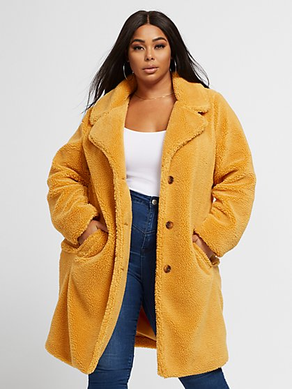 Plus Size Amy Mustard Sherpa Coat - Fashion To Figure