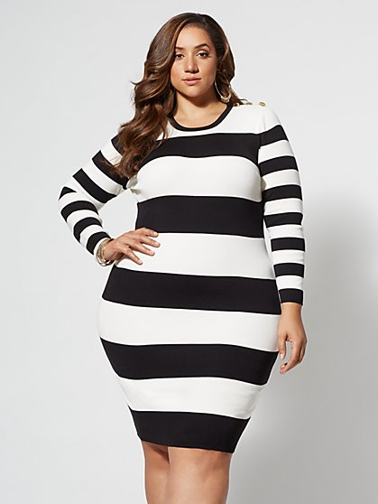 Plus Size Amy Striped Sweater Dress - Fashion To Figure