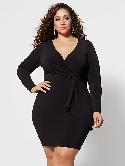 Plus Size Amya Drape Bodycon Dress - Fashion To Figure