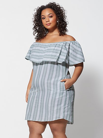 Plus Size Anabel Off Shoulder Ruffle Dress - Fashion To Figure