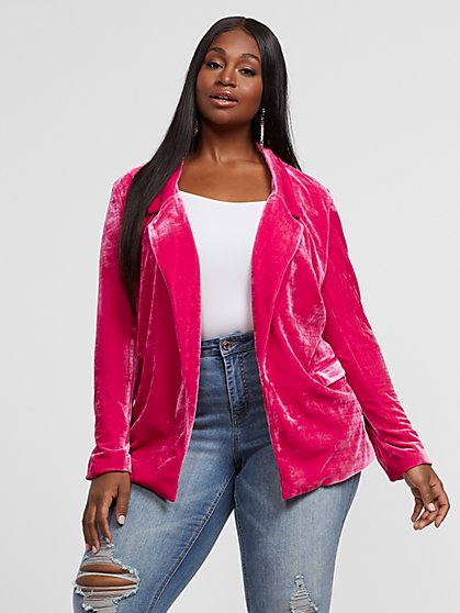 Plus Size Anabel Velvet Blazer - Fashion To Figure