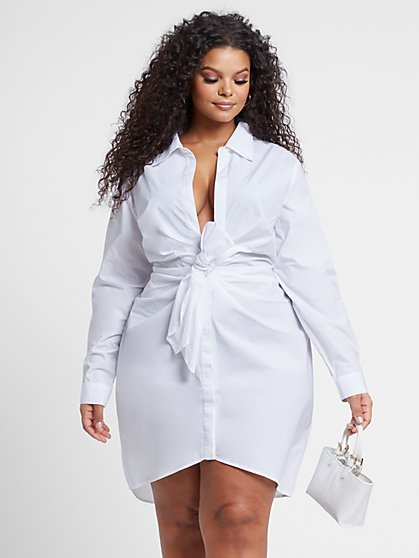 Plus Size Anais Knot-Front Shirt Dress - Fashion To Figure