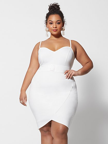 Plus Size Anais Rhinestone Belted Bodycon Dress - Fashion To Figure